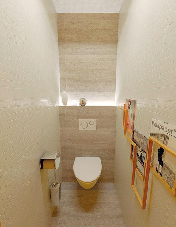 WC je materiálovo zladené skúpeľňou – na podlahe skamennou dlažbou, voľne prechádzajúcou do obkladu. Na zvyšných stenách je zopakovaná jednoduchá biela obdĺžniková mozaika. Časť nad podomietkovým splachovacím systémom možno ponechať otvorenú alebo ju uzavrieť azískať vnútorný úložný priestor. Myslieť však treba aj na revízne dvierka.