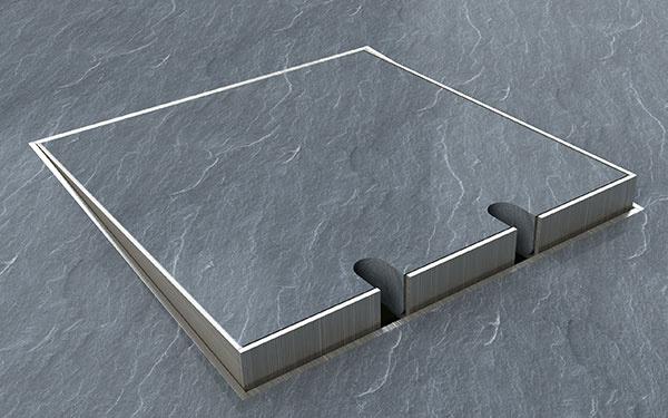 Do tohto typu podlahovej zásuvky je možné vložiť akýkoľvek materiál/podlahu do hrúbky 15 mm