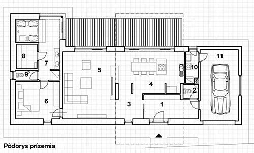 Prízemie  1 zádverie 2 WC 3 chodba, schodisko, 4 kuchyňa 5 obývačka 6 spálňa 7 kúpeľňa 8 sauna 9 WC 10 technická miestnosť 11 garáž