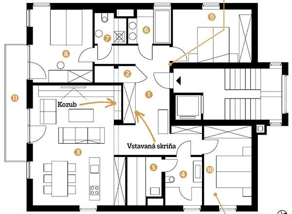 Pôdorys 1 predsieň 2 sklad 3 obývačka spojená skuchyňou 4 kúpeľňa so sprchou 5 sauna 6 kúpeľňa svaňou 7 toaleta spráčovňou 8 hlavná spálňa 9 hosťovská spálňa 1 10 hosťovská spálňa 2 11 balkón