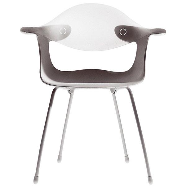 """Autor futuristicky stvárnenej stoličky Bluebelle, dizajnér Ross Lovegrove, sa Eamesovou plastovou ikonou nechal inšpirovať okľukou. Jeho vzdušné dielo je totiž technologicky vyspelou variáciou stoličky iného amerického návrhára, Georga Nelsona, ktorý sCharlesom Eamesom spolupracoval. Pôvodnú predlohu, stoličku DAF zroku 1956, posunul Ross Lovegrove do """"cool"""" estetiky, keď využil efektne priesvitný technoplast na časti chrbtovej opierky. Rôzne farebné kombinácie, 435,6 €, DRIADE,  predáva Triform Factory (www.triform.sk)."""