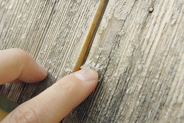 """Ak drevo na fasáde raz natriete, treba náter pravidelne obnovovať. Na snímke možno vidieť smrekový obklad, ktorý bol natretý pred pár rokmi auž mal byť znova. Bude potrebné obrúsiť starý náter aurobiť nový. """"Náter nikdy nedegraduje rovnomerne, sú miesta, kde drží lepšie akde naopak horšie, vysvetľuje architekt František Lehocký."""