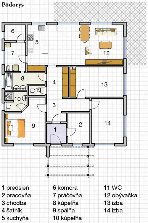 1 predsieň 2 pracovňa 3 chodba 4 šatník 5 kuchyňa 6 komora 7 práčovňa 8 kúpeľňa 9 spálňa 10 kúpeľňa 11 WC 12 obývačka 13 izba 14 izba
