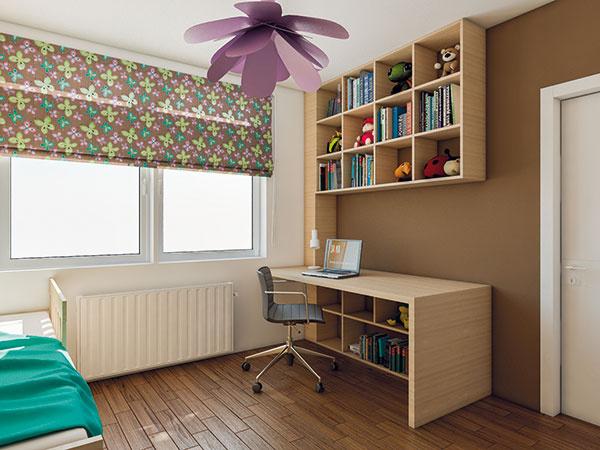 Množstvo šikovne navrhnutých políc oproti posteli bude zatiaľ slúžiť na hračky, neskôr sa knim doplní pracovný stôl ado poličiek sa nasťahujú školské potreby. Pracovný stôl má miesto pri okne, tak, aby naň dopadalo svetlo zľava.