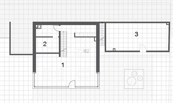 Prvé podzemné podlažie 1 obývacia izba skuchyňou 2 technická miestnosť 3 sklad