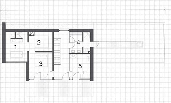 Druhé nadzemné podlažie 1 kúpeľňa sWC 2 šatník 3 izba 4 kúpeľňa so saunou 5 izba