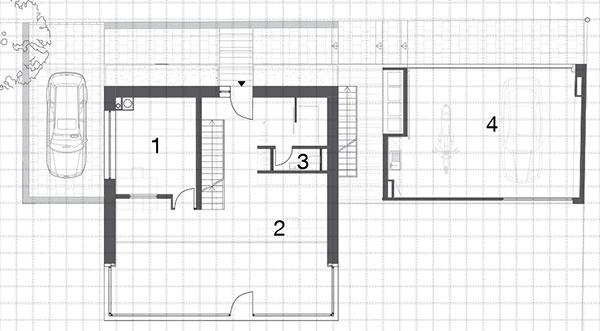 Prvé nadzemné podlažie 1 izba 2 pracovňa 3 WC 4 garáž
