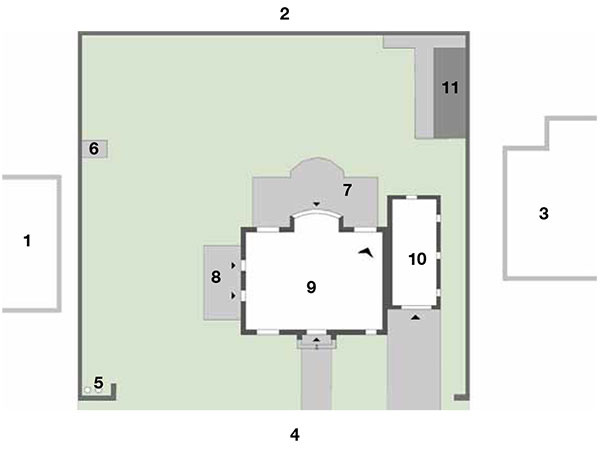 Pôvodný stav  1 susedný dom 2 pozemok 3 susedný dom 4 ulica 5 smetné nádoby 6 studňa 7 terasa 8 terasa 9 rodinný dom 10 garáž 11 kôlňa