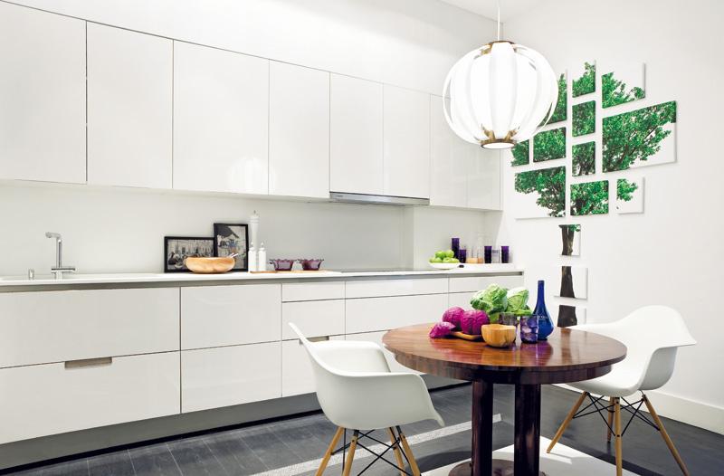 Najväčšia renovácia sa týkala kuchyne, do ktorej architekt Da Cunha umiestnil jednoduché, hladké biele skrinky a najnovšie kuchynské spotrebiče. Nenápadná biela linka vedie pohľad k stene s originálnou kompozíciou so zeleným stromom, ktorú vytvoril Rodrigo Moreira Rato.