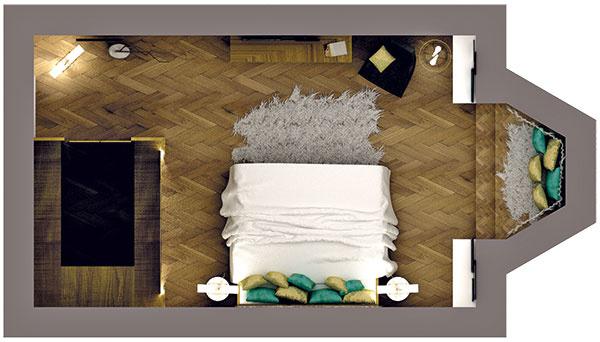 """Pôdorys izby má obdĺžnikový tvar avďaka šatníkovému boxu je rozdelený na vstupnú asamotnú obytnú časť. Izba tak nadobudla logicky usporiadaný systém, vktorom má každá časť svoju funkciu azapadá do """"kolobehu""""."""