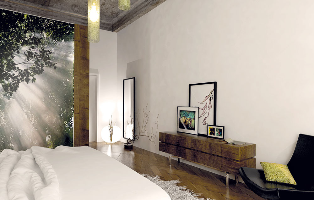 Vysoké zrkadlo vdrevenom ráme je strategicky umiestnené priamo oproti šatníku, pri vstupe do izby. Príjemnú náladu hneď pri dverách navodí podlahové svietidlo, ktoré zároveň rozžiari tmavý roh.
