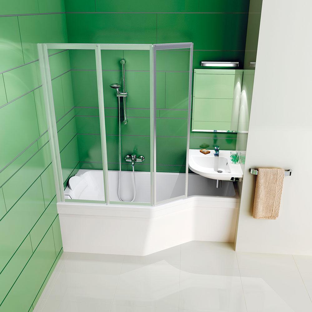 Dômyselné umiestnenie rohového umývadla BeHappy nad vaňu predstavuje priestorovo úsporné riešenie vhodné aj do najmenších kúpeľní, azároveň zachováva pohodlie pri umývaní. Špeciálny tvar vane pritom umožňuje pohodlné kúpanie pri nižšej spotrebe vody. Vaňu možno doplniť aj zástenou, ktorá dokonale kopíruje jej línie. (RAVAK)