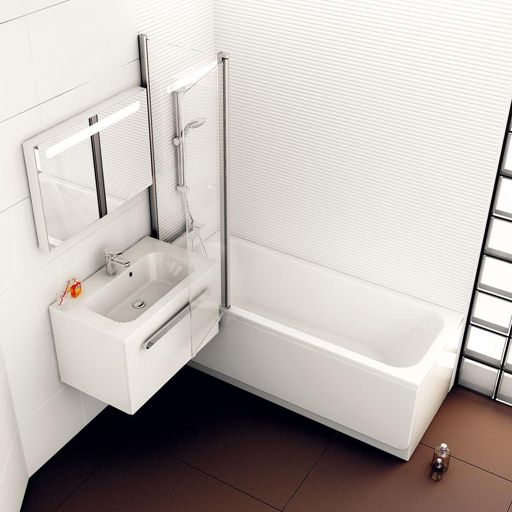 Faktom je, že sa omnoho viac sprchujeme, než kúpeme, vane sa však málokto dokáže vzdať. Ak sa vám do kúpeľne nezmestia vaňa aj sprchovací kút asiahnete po unás najčastejšom riešení – sprchovaní vo vani, zmieriac sa svýškovou bariérou –, dajte si na výbere vane špeciálne záležať. Hľadajte takú, vktorej sa dá pri sprchovaní pohodlne abezpečne stáť amožno ju doplniť sprchovacou zástenou. (Koncept Chrome, RAVAK)