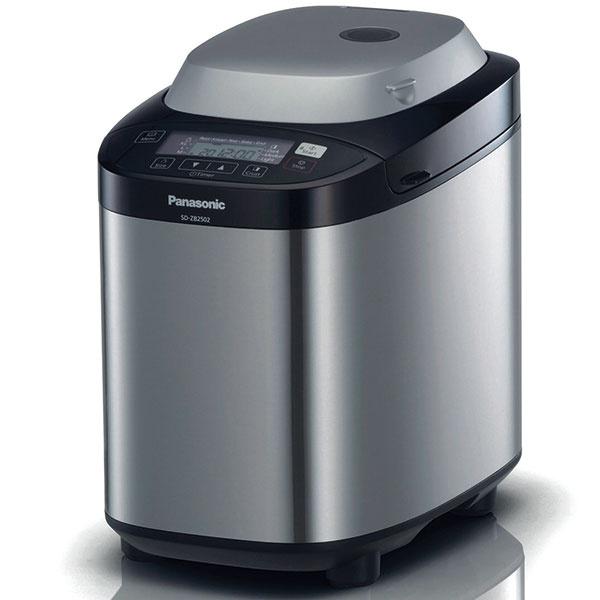 Panasonic SD-ZB2502BXE  chlieb: 550/750/950 g, 3 úrovne prepečenia, 15 automatických programov  ostatné programy: miesenie, pečenie, džem, kompót výbava: nádoba zhliníkovej zliatiny, lopatka na miesenie, odmerky, receptár cena: 175 €  www.panasonic.sk