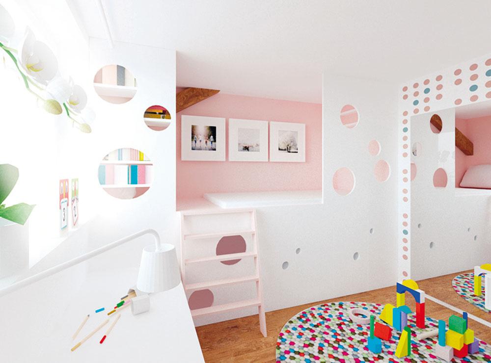 Detské ihrisko priamo doma má význam jednak vďaka tomu, že farby atvary nie sú príliš konkrétne anútia deti rozmýšľať, akú funkciu jednotlivým častiam pridelia, no takéto izby sú vhodné aj na netradičné komponovanie úložných priestorov avšetkých funkčných častí interiéru. Netreba však zabúdať na bezpečnosť, ktorá hrá vsúvislosti spohybom alezením dôležitú rolu. Návrhy dievčenskej achlapčenskej izby pochádzajú zateliéru ARCHHOLIKS.