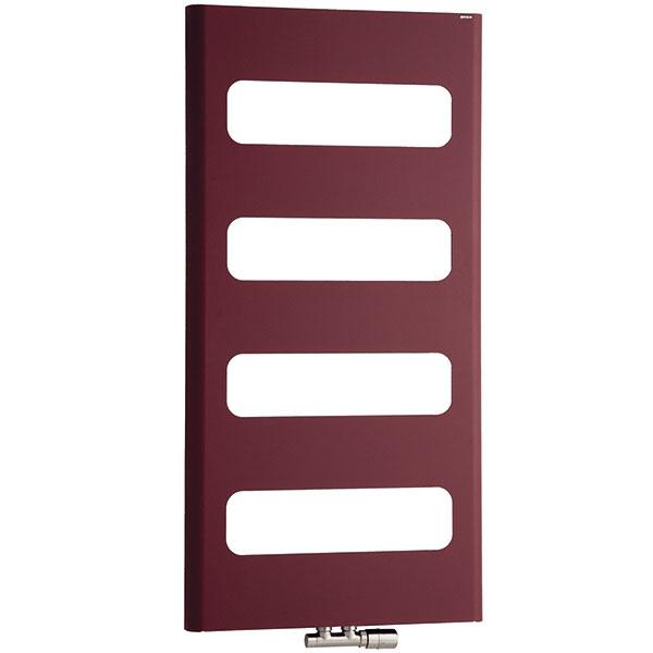 Radiátor Retro, povrchová úprava – štruktúrovaná červená, 600 × 1 200 mm, upevnenie ostenu, elektrické vykurovanie, kombinované vykurovanie, 369 €