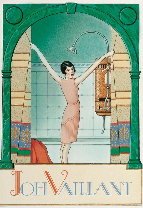 Reklama na závesný ohrievač vody značky Vaillant z roku 1924