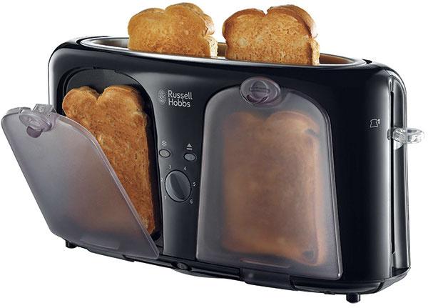 Russell Hobbs Easy Toaster 19990-56 Ohrev: 1 000 W, dvojmiestna štrbina, ohrevná mriežka Ovládanie: elektronické, 6 stupňov, rozmrazovanie, stop Rozmery: 46 × 17 × 23 cm