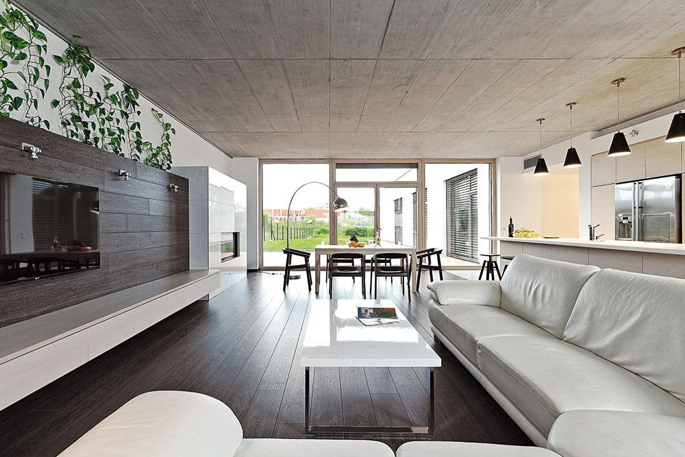 Ryhy vpohľadovom betóne na strope nie sú náhodné. Sú zámerne komponovaným prvkom, ktorý priestoru určuje poriadok amierku. Umiestnenie sedacej súpravy, ktorú si majitelia priniesli zpredchádzajúceho bývania, umožňuje pohľad na TV, kozub aj do záhrady.