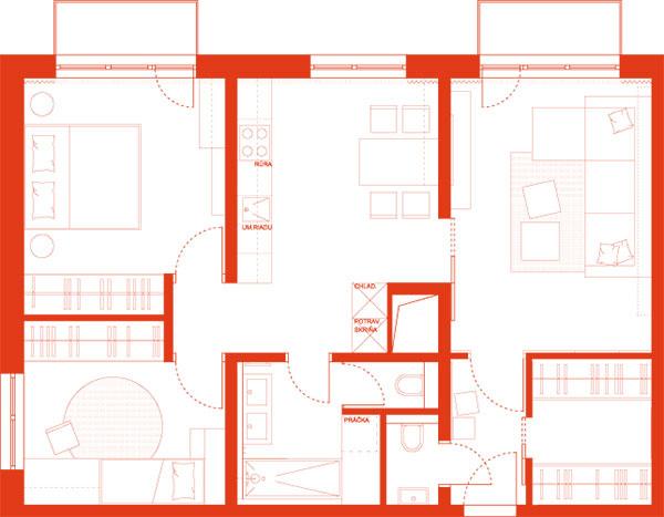 Návrh A, 63,07 m2  (obytná plocha 54,95 m2 + kúpeľňa aWC 8,12 m2)
