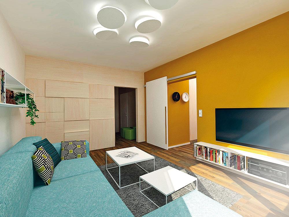 Drevený obklad je akousi optickou hrou, ktorá nudnú stenu premenila na príjemný prvok priestoru, dizajnovo zladený skuchyňou.