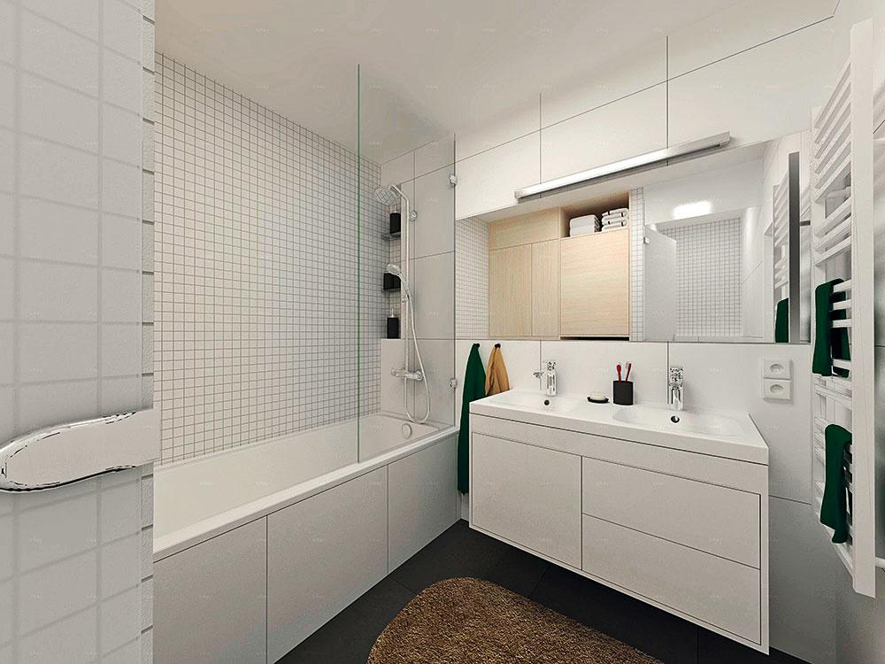 Skrinka pod umývadlo svojím členením a farbou korešponduje s veľkoformátovým obkladom, ktorý je vhodné narušiť mozaikou v tej istej farbe. Upozorníte tým na dominantu priestoru – vaňu.