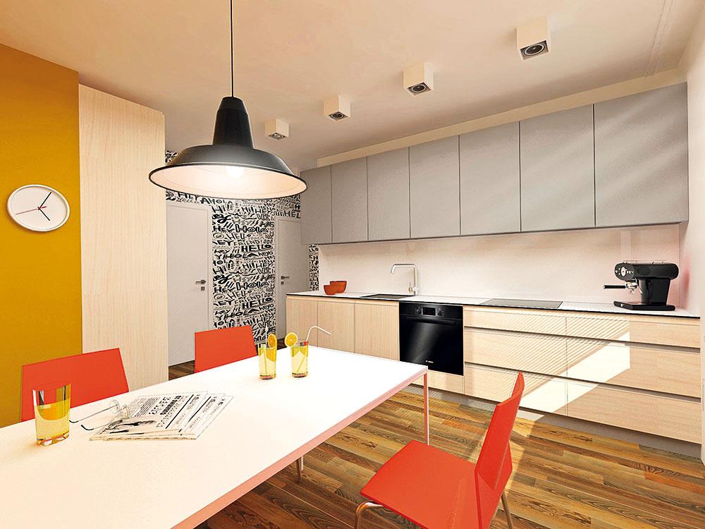 Kuchynská linka včisto bielej farbe je fádna apríliš sterilná. Architektka preto stavila na elegantnú kombináciu prírodných tónov, sivej abielej farby. Je už na majiteľoch, či si zvolia lacnejší laminát alebo drahšiu dyhu, prípadne masív. Vkaždom prípade je potrebné všetky drevené časti zladiť sobkladom nachádzajúcim sa aj vobývacej izbe.