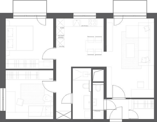 Návrh B, 64,54 m2  (obytná plocha 57,43 m2 + kúpeľňa aWC 7,11 m2)
