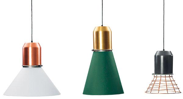 Závesné svietidlá ClassiCon Bell, kombinácia rôznych materiálov, priemer od 29 cm, výška od 34 cm, od 548 €/1 kus,  www.ambientedirect.com
