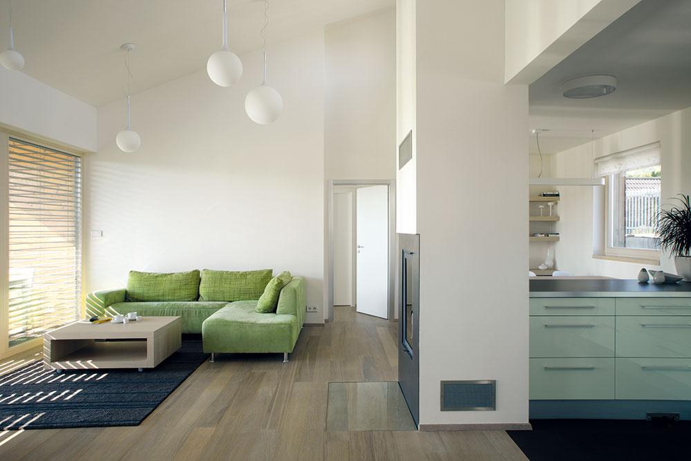 Rafinovaný priestor. Na otvorenej dennej miestnosti je najpôsobivejší sám priestor – účelne členitý vpôdoryse apôsobivo vo výške. Pultovú strechu spredpísaným sklonom dostal dom na podnet stavebného úradu – vtomto prípade bol regulatív vprospech exteriéru aj interiéru.