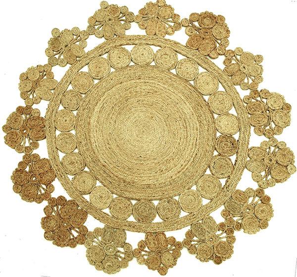 Okrúhly koberec Armadillo & Co Marigold TopShot, ručne tkaný zbangladéšskeho konope, 45 × 150 × 88,5/ 44 cm, 402,24 €, www.ecochic.com.au