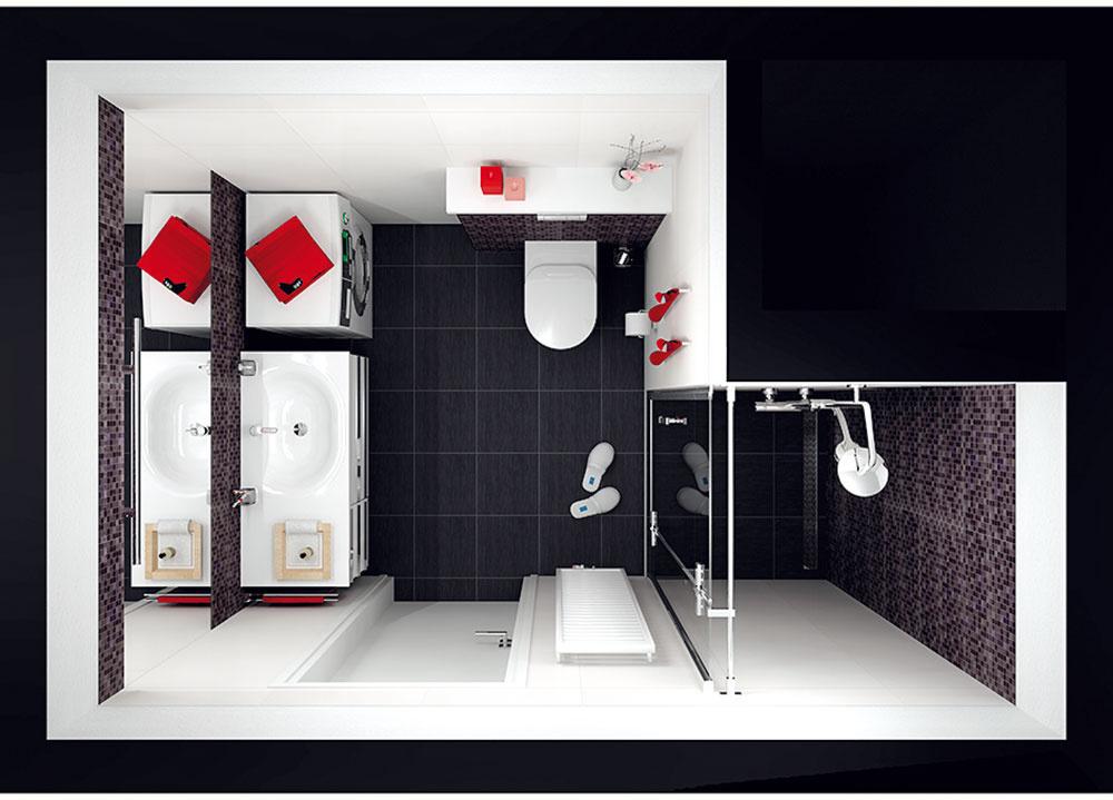 So sprchovacím kútom Vprvom návrhu je na mieste bývalého WC zabudovaný sprchovací kút. Docieli sa tým tvarovo jednoznačný apomerne voľný priestor kúpeľne, vktorom sa aj pri jeho vpodstate skromných rozmeroch nebudete cítiť stiesnene. Keďže vstaršom byte nie je možné zapustiť sprchovací kút do podlahy, nemôže byť riešený bezbariérovo – je potrebné vytvoriť nízky schodík, do ktorého sa skryje žľab na odvod vody. Pri tomto dispozičnom riešení sa zmestí aj práčka spredným plnením.