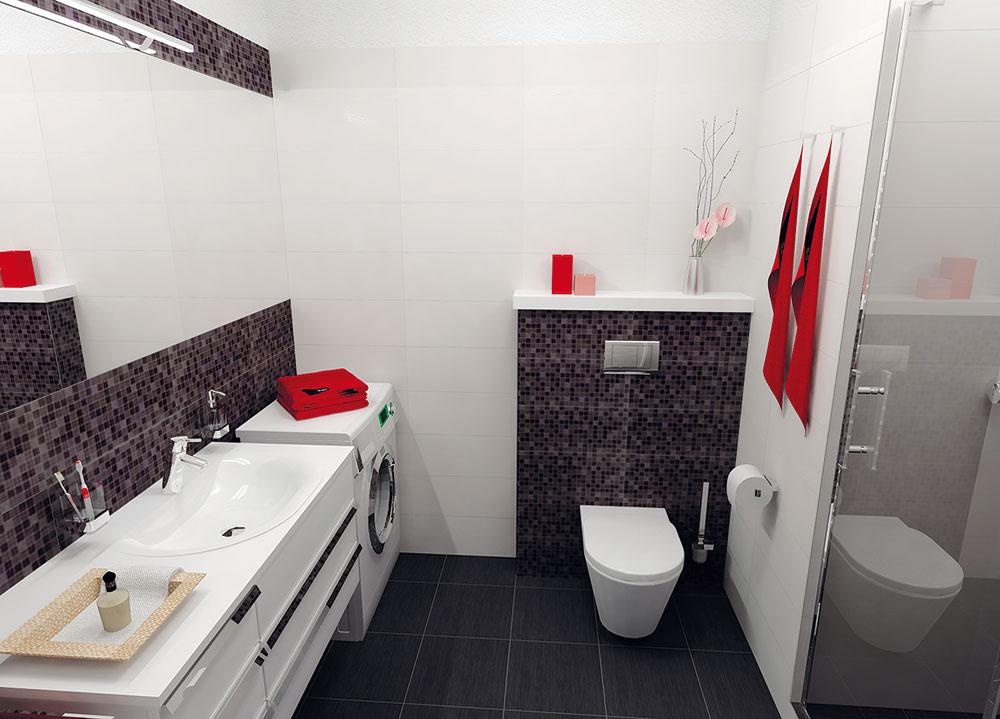 Obklad siaha na všetkých stenách rovnako tesne pod strop. Oproti dverám je závesné WC – predsadená časť steny so zabudovanou nádržkou je zvýraznená mozaikou, jej vrch sa dá využiť ako polička. (pohľad odo dverí)