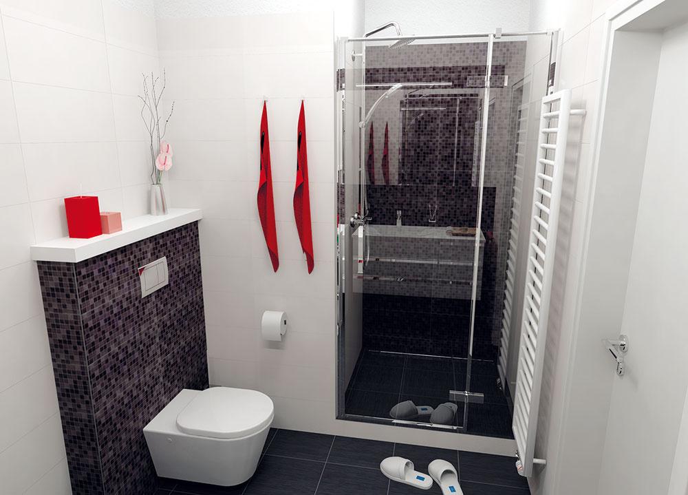 Vedľa sprchovacieho kúta je úzky radiátor. Môže byť dizajnovým oživením, a zároveň prináša komfort – dá sa tu vysušiť či príjemne nahriať uterák.