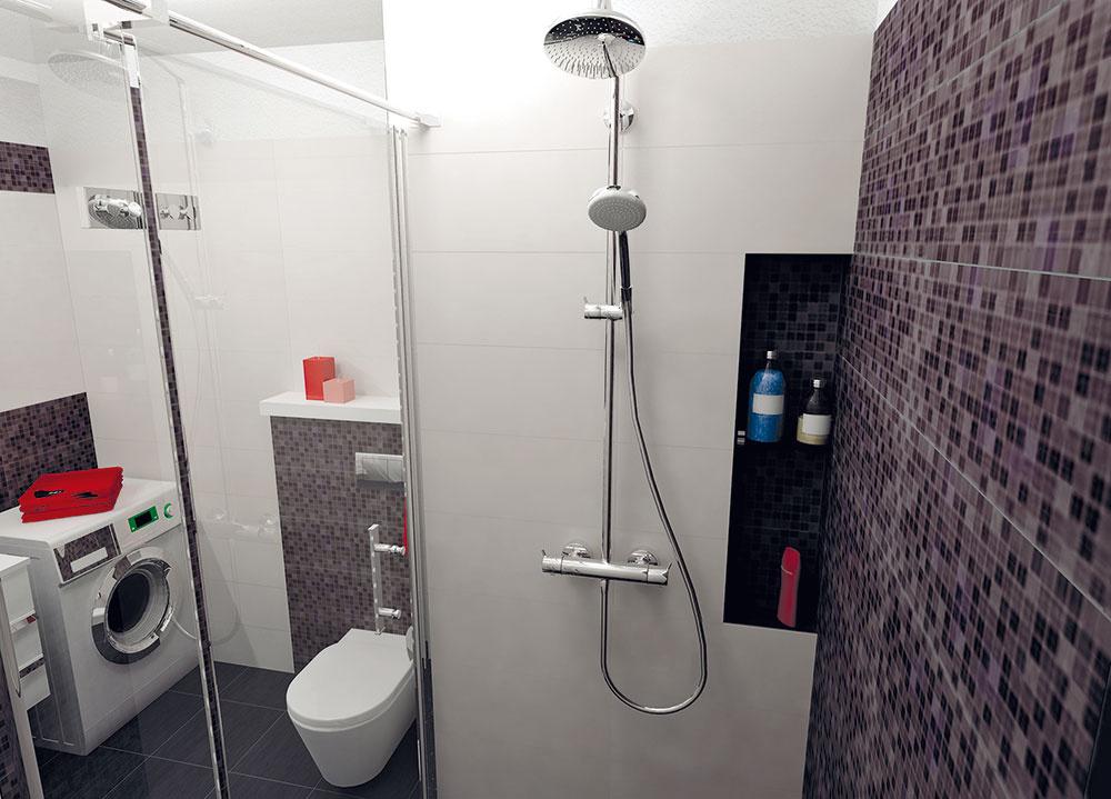V sprchovacom kúte je v prímurovke vytvorená nika, ktorá môže slúžiť na šampóny a sprchovacie gély. Pohodlie pri sprchovaní zvýši sprchová súprava, ktorá je kombináciou ručnej sprchy s hornou dažďovou.
