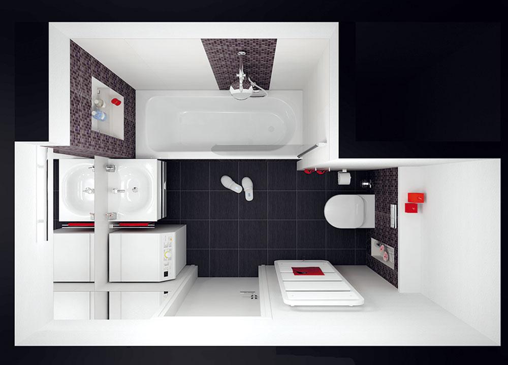 Svaňou oproti dverám Vtomto prípade je priamo oproti dverám vaňa aWC je umiestnené decentne za rohom (ostáva vpodstate na pôvodnom mieste, ibaže je pre pohodlný prístup otočené). Tam, kde obklad nie je potrebný zfunkčného hľadiska (napríklad okolo dverí či za toaletou), nesiaha až po strop, strieda ho omietka. Takéto riešenie prináša materiálové oživenie aje menej nákladné. Vtomto dispozičnom riešení však možno použiť len práčku shorným plnením, iná sa nezmestí.