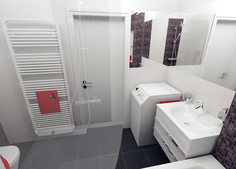 Aj tu je dômyselne riešené zrkadlo, ktoré opticky zlepší proporcie priestoru. Tentoraz však nie je len za umývadlom apráčkou (začína sa od vane), ale pokračuje aj za rohom asiaha až ku kúpeľňovým dverám. Vedľa dverí do kúpeľne je klasický rebríkový radiátor, praktický na sušenie uterákov.