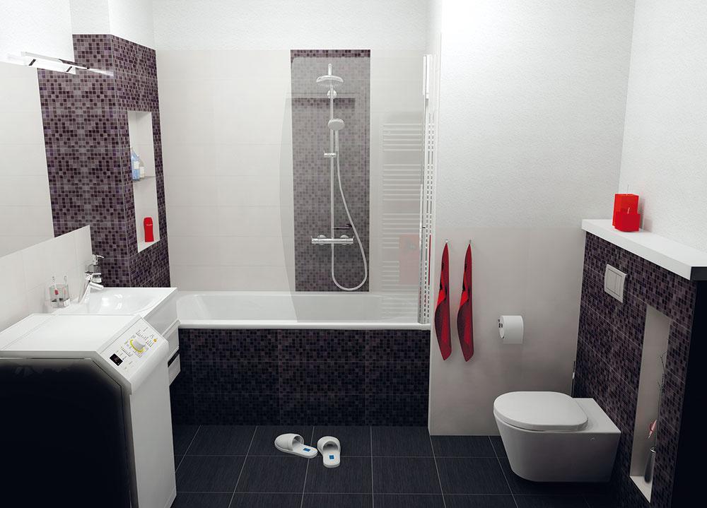 Komfortné sprchovanie zabezpečuje súprava s ručnou a hornou sprchou, ktorá je umiestnená za vaňovou zástenou – tak, aby ste pri sprchovaní nespôsobili v kúpeľni potopu. (pohľad odo dverí)