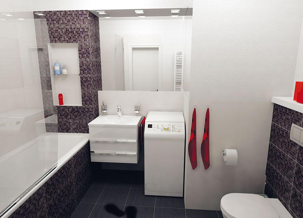 Posledný variant sa od predchádzajúceho líši len polohou vane. Keďže pôvodná kúpeľňa je štvorcová, rozmery zariadenia sa nemenia. Ide teda len oosobné preferencie, či chcete mať umývadlo oproti dverám, alebo vedľa nich, prípadne či vám viac vyhovuje práčka za dverami. (pohľad odo dverí)