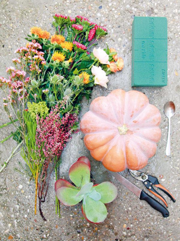 Pripravte si tekvicu, rastliny (rezané kvety a sukulenty) a všetky potrebné pomôcky (aranžérsku hmotu, nôž, lyžicu a záhradné nožnice).