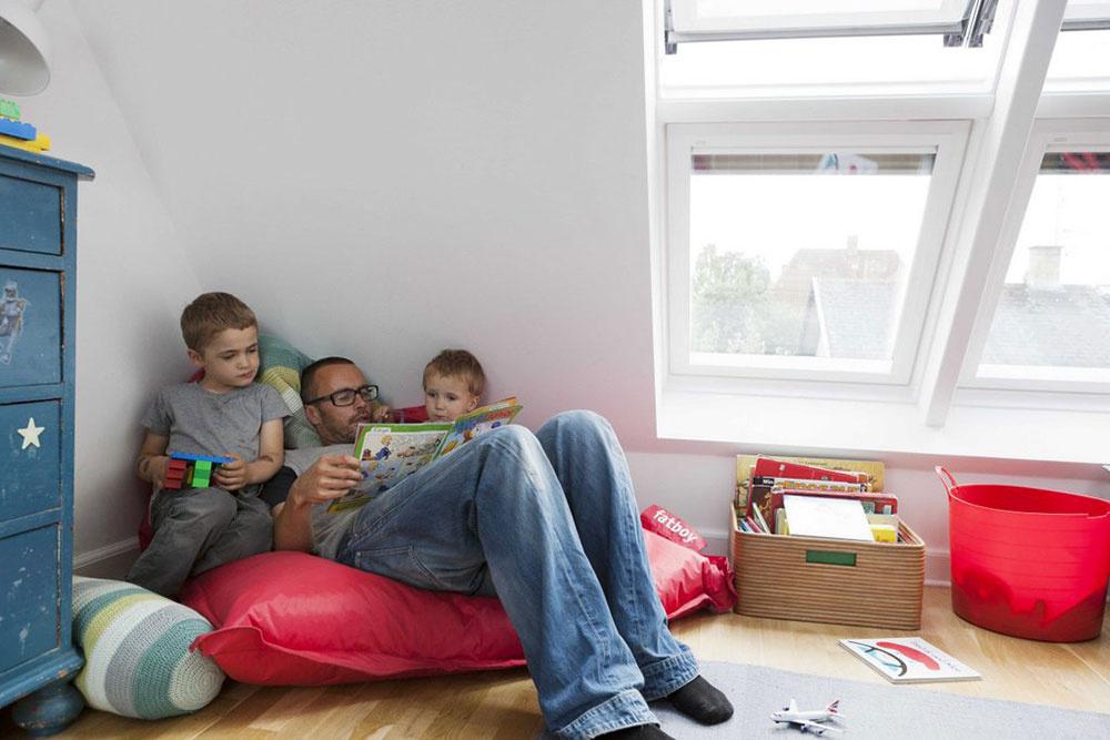 Keď deti vyrastú, miestnosť sa bude využívať nielen na spanie, ale bude zároveň aj herňou. Už teraz je pripravená poskytnúť im zdravé vnútorné prostredie pri hre aj učení.