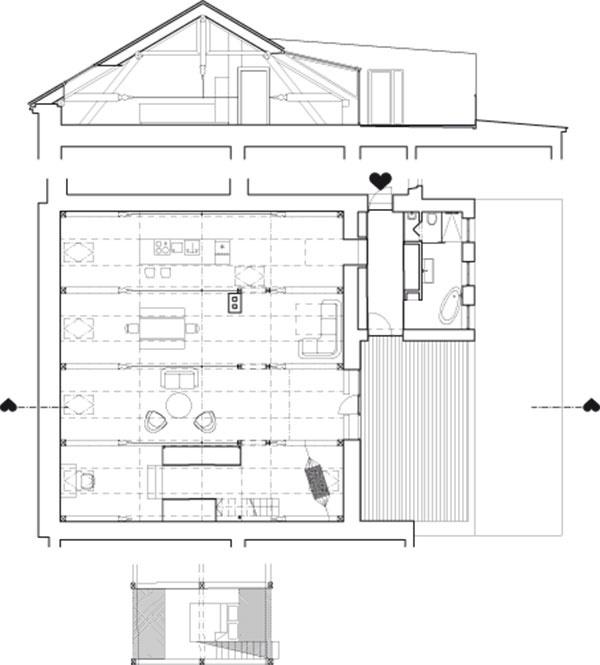 Sobytnou plochou 140 m2 je toto podkrovie zrejme najväčšou garsónkou široko-ďaleko. Vštyroch poliach drevenej strešnej konštrukcie vznikli štyri funkčné jednotky – kuchyňa, jedáleň, obývačka abox so šatníkom vkonečnej sekcii priestoru so spaním apracovňou navrchu. Kbytu patrí aj veľká terasa, ktorá je prístupná zobývačky cez novovytvorený vikier.