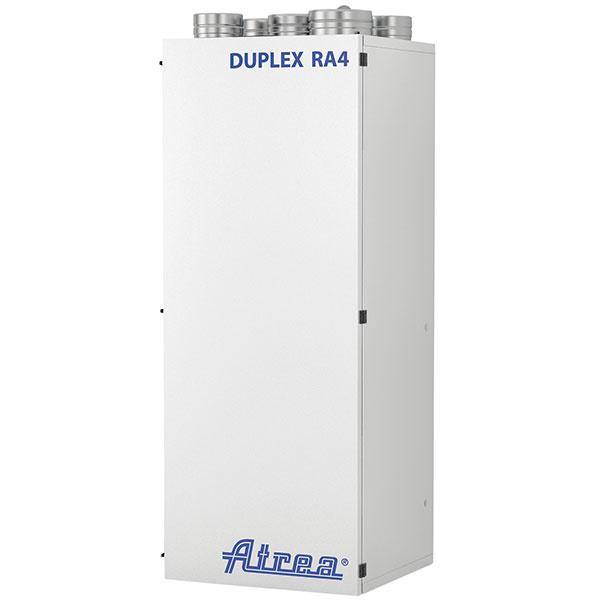 Duplex RA4-EC, kompaktná vetracia jednotka smožnosťou cirkulácie vzduchu na vetranie, chladenie ateplovzdušné vykurovanie od spoločnosti Atrea, EC úsporné ventilátory, rekuperačný výmenník so spätným získavaním tepla až 90 %, uzatváracia klapka prívodného vzduchu, automatický by-pass, teplovodný ohrievač apriestor na dodatočnú inštaláciu chladičov, inštalácia pod strop alebo na podlahu, vponuke aj kompaktné jednotky so zabudovaným tepelným čerpadlom, centralizovaný systém