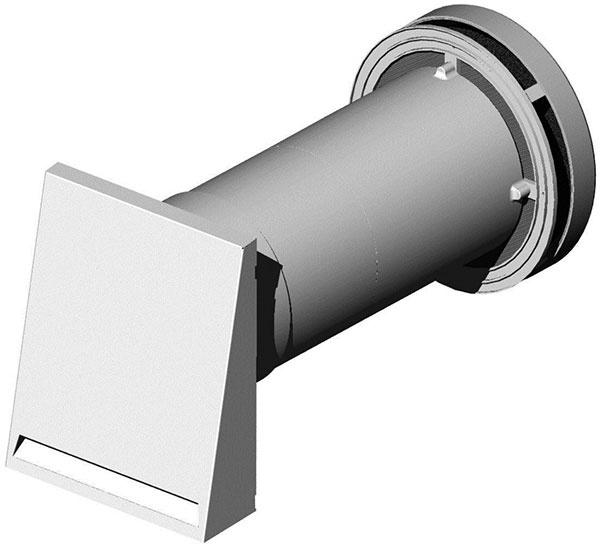 InVENTer – iV14R, vetracia jednotka so spätným získavaním tepla vrátane priechodky sdĺžkou 650 mm, kruhový alebo hranatý kryt zplastu, prachový filter, antikorový vonkajší kryt, vetranie so spätným získavaním tepla až do 91 %, decentralizovaný systém