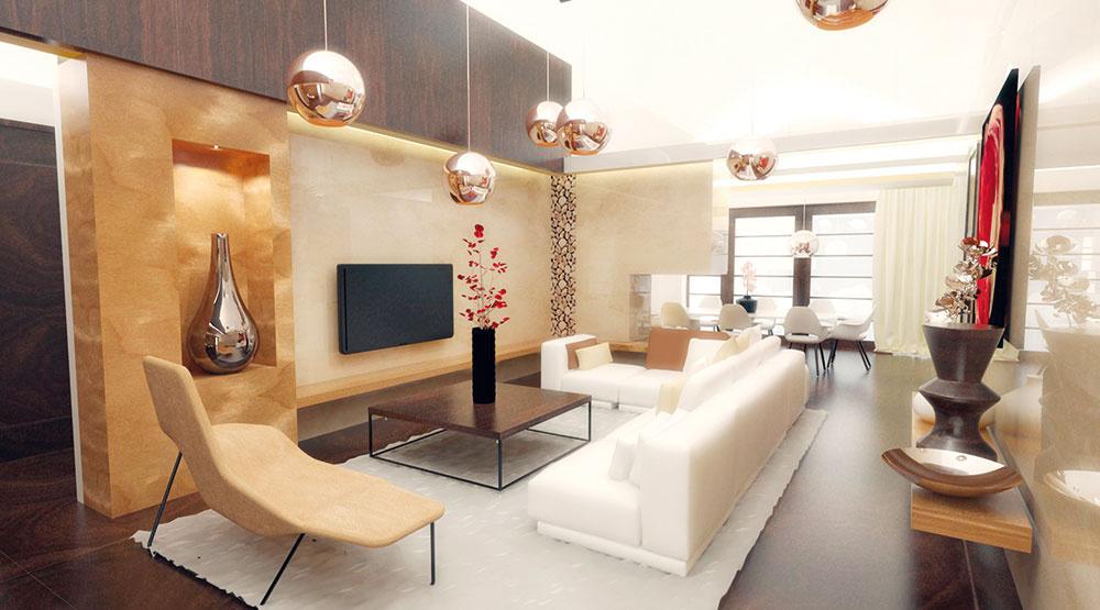 Materiály aich farebné odtiene sú starostlivo vybrané askombinované, aby vynikol kontrast medzi tmavým drevom, špeciálnou dyhou (Jafholz, jaseň hrčový) atravertínovým obkladom, bielou farbou imedenými doplnkami. Cieľom bolo dosiahnuť vkusnú eleganciu veľkorysého interiéru.