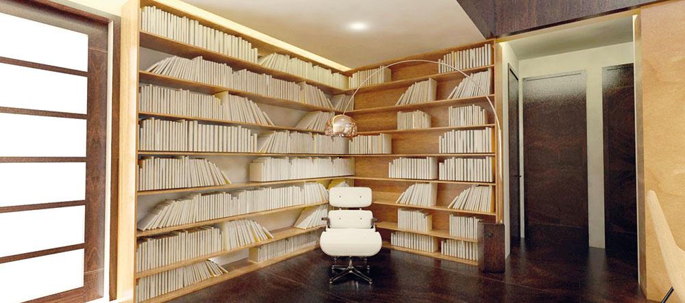 Knižnica je od priestoru obývačky pocitovo oddelená prostredníctvom stropu, ktorý je tu už zachovaný. Zároveň jej to dodáva útulnosť, čo je pri čitateľských kútikoch dôležité.