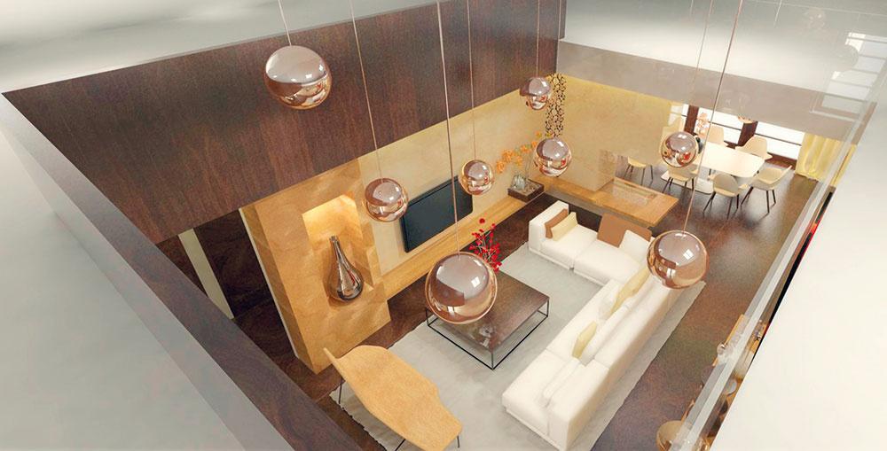 Galéria na poschodí je sobývačkou prepojená vizuálne aj materiálovo. Dve strany dreveného zábradlia pôsobia zdola ako plynulé napojenie stien, ostatné dve zábradlia sú kvôli vzdušnosti apresvetleniu zasklené.