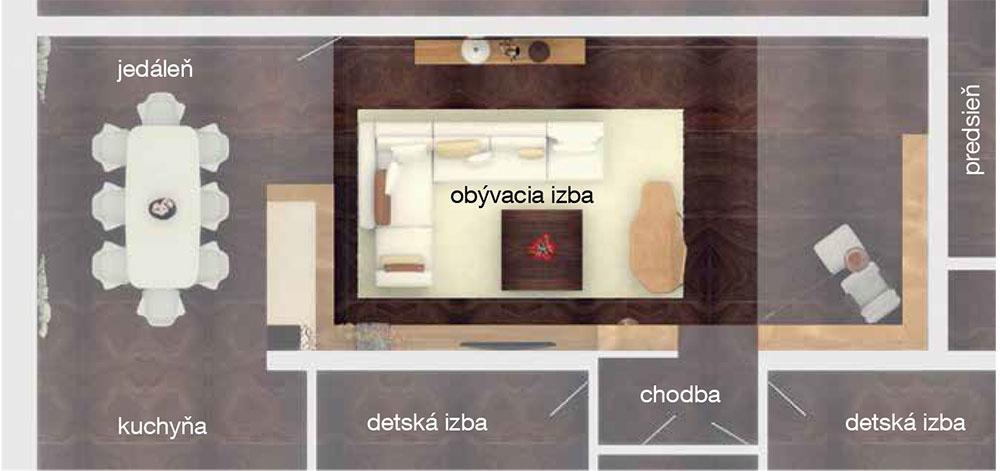 """Obývacia izba sčitateľským kútikom má plochu takmer 40 m2, takže si vyžaduje aj dostatočnú výšku, aby jej strop """"nepadal na hlavu"""". Do podkrovia sa teda pozerá oknom vpodlahe srozmermi 4 × 5 m, čím sa sem dostane dostatočné množstvo denného svetla. Centralitu tejto miestnosti upevňuje aj fakt, že je znej prístup do všetkých ostatných izieb vdome."""