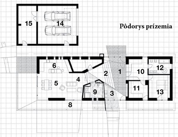 Pôdorys prízemia 1 vstupná hala 2 schody do obývačky 3 schody na poschodie 4 obývačka 5 jedáleň 6 kuchyňa 7 komora 8 terasa 9 kúpeľňa aWC 10 šatník 11 pracovňa 12 kúpeľňa 13 spálňa 14 garáž 15 sklad