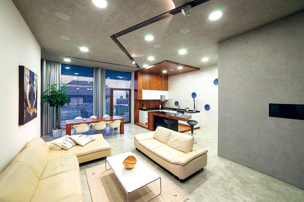 Vďaka terénnej vlne vznikol včasti prízemia priestor sväčšou svetlou výškou, predurčený stať sa otvorenou dennou zónou domu.